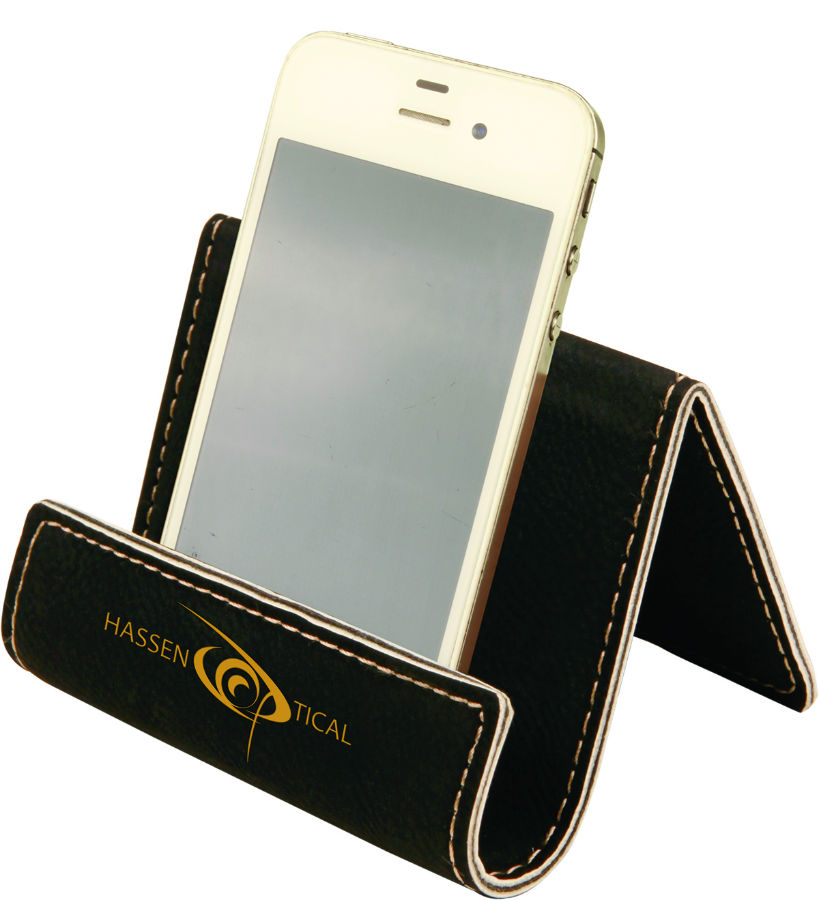 Black Leather Cell Phone Holder WAUCUSTCELL03 Wood Arts Universe