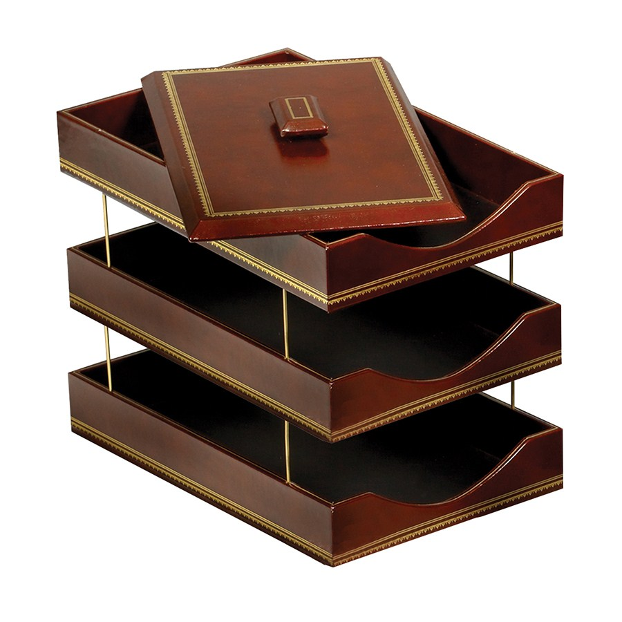 brown leather letter trays with 24kt gold accent stacking With brown leather letter tray