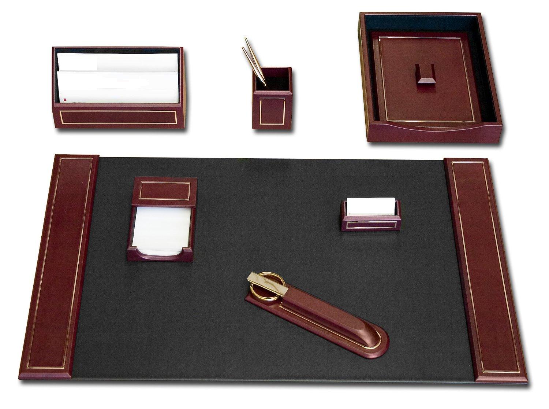 Burgundy Leather 24kt Gold Tooled 7 Piece Desk Set Waucustd5604