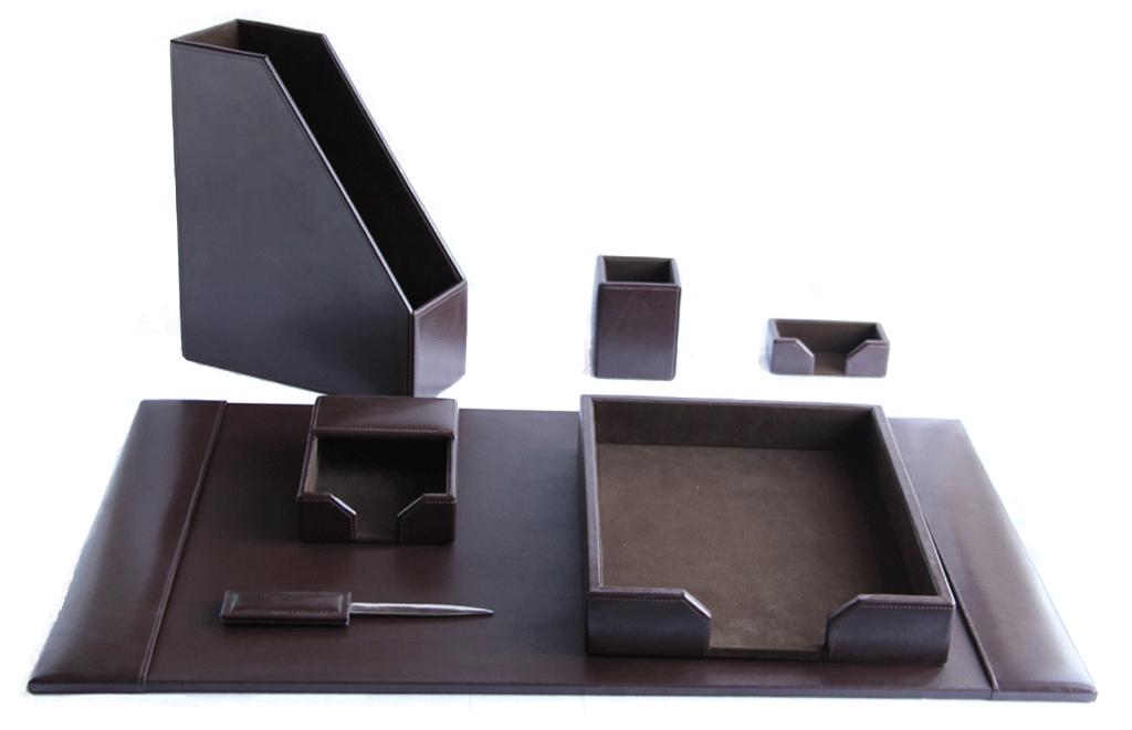 Dark Brown Leather Desk Set - 7 Piece WAU64DBrown